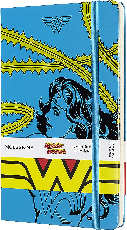 Dimensione Large 13 x 21 cm Chiusura ad Elastico e Pagina a Righe Colore Azzurro Moleskine Notebook Wonder Woman Edizione Limitata Taccuino Copertina Rigida 240 Pagine
