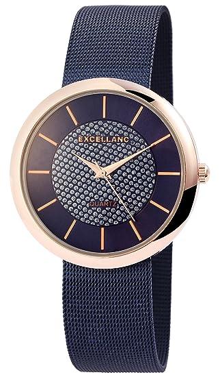 Reloj mujer azul rosado. Brillantes de oro Mesch analógico metal Reloj de pulsera