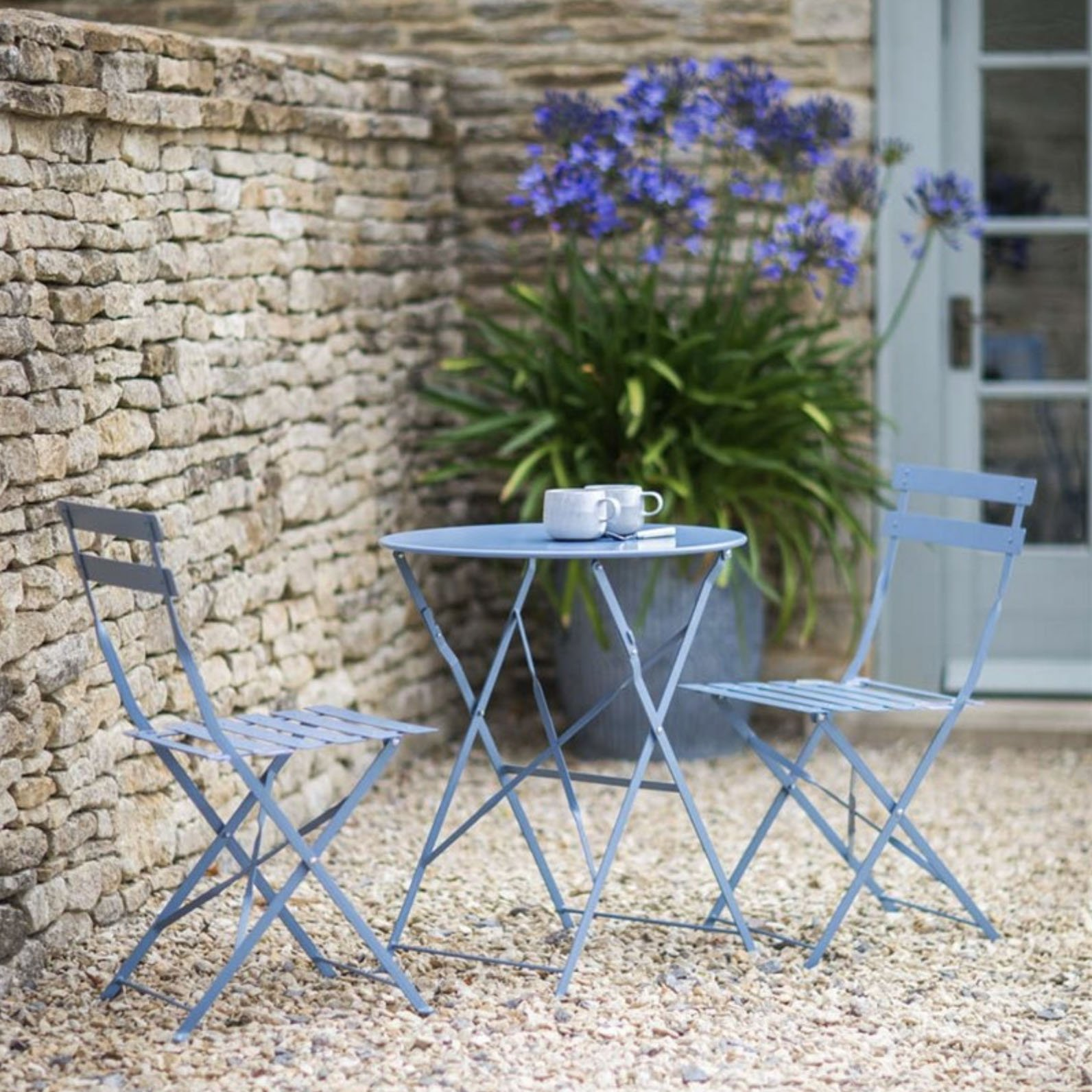 CKB LTD Garden Bistro Set Metal Outdoor - BLUE - Deluxe Weatherproof 9  Piece Garden Furniture Table And Folding Chairs For Small Patio or Balcony