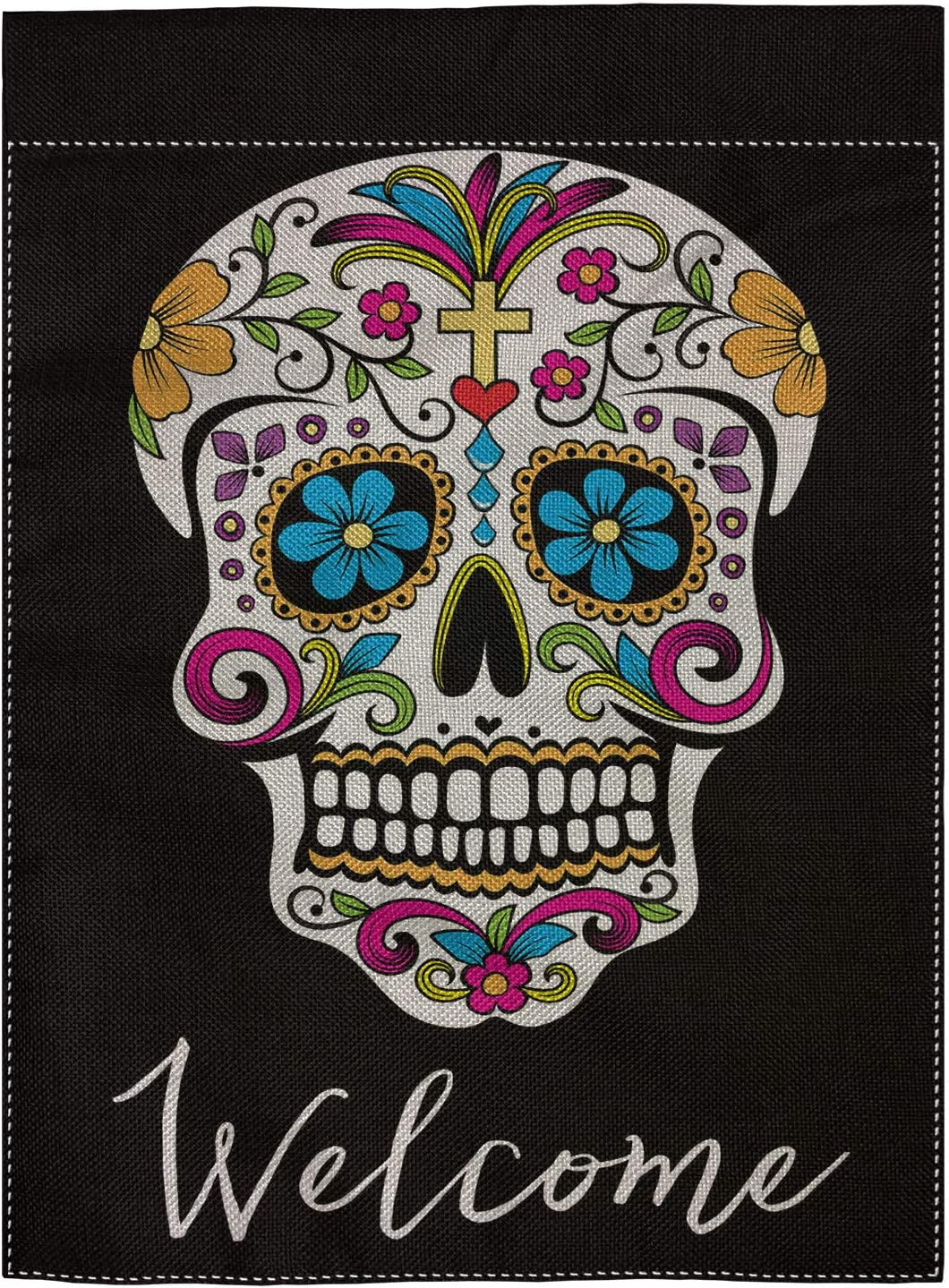 "pingpi Sugar Skull Garden Flag Vertical Double Sided Spring Summer Yard Outdoor Decorative 12.5""x18"""