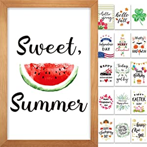 Jetec Farmhouse Wall Decor Signs with 16 Interchangeable Seasonal Sayings and Picture Frame Rustic Wooden Wall Hanging Porch Decorations for 4th of July and Summer 12 x 8 Inch (Nature Color)