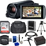 """Canon VIXIA HF R800 Camcorder (Black) & 9PC Starter Accessory Bundle - Includes: SanDisk Ultra 128GB SDXC Memory Card + Extended Life BP727 Spare Battery (3000mAh) + 57"""" Lightweight Tripod + More"""