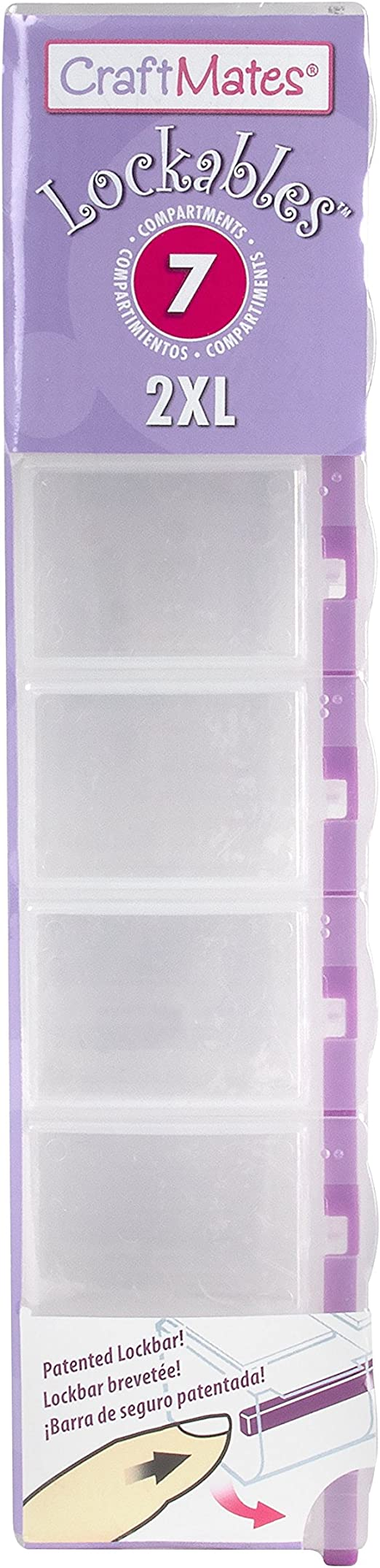 Clear Lids 7 Locking Compartments Buttons CRAFT MATES Bead Organizer and Plastic Storage Containers for Crafts 2XL Pins and More