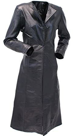 0b892218399e3f Jamin  Leather Extra Long Lambskin Leather Trench Coat for Women (S)   L14020LL