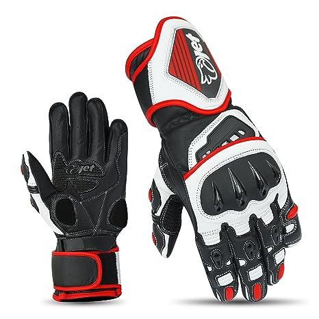 Jet Guantes de motocicleta Motocicleta Guante de cuero premium completa Guantes de nudillo rígido (Rojo