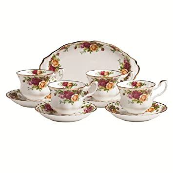 Royal Doulton Bone China Albert Old Country Roses 9-Piece Completer Teaset(White)
