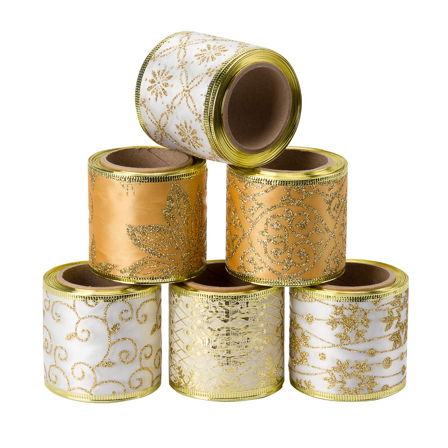 LaRibbons Wired Christmas Holiday Ribbon - 6 Rolls Swirl Sheer Glitter Ribbon - 2.5 inch x 5 Yard Each Roll - Gold