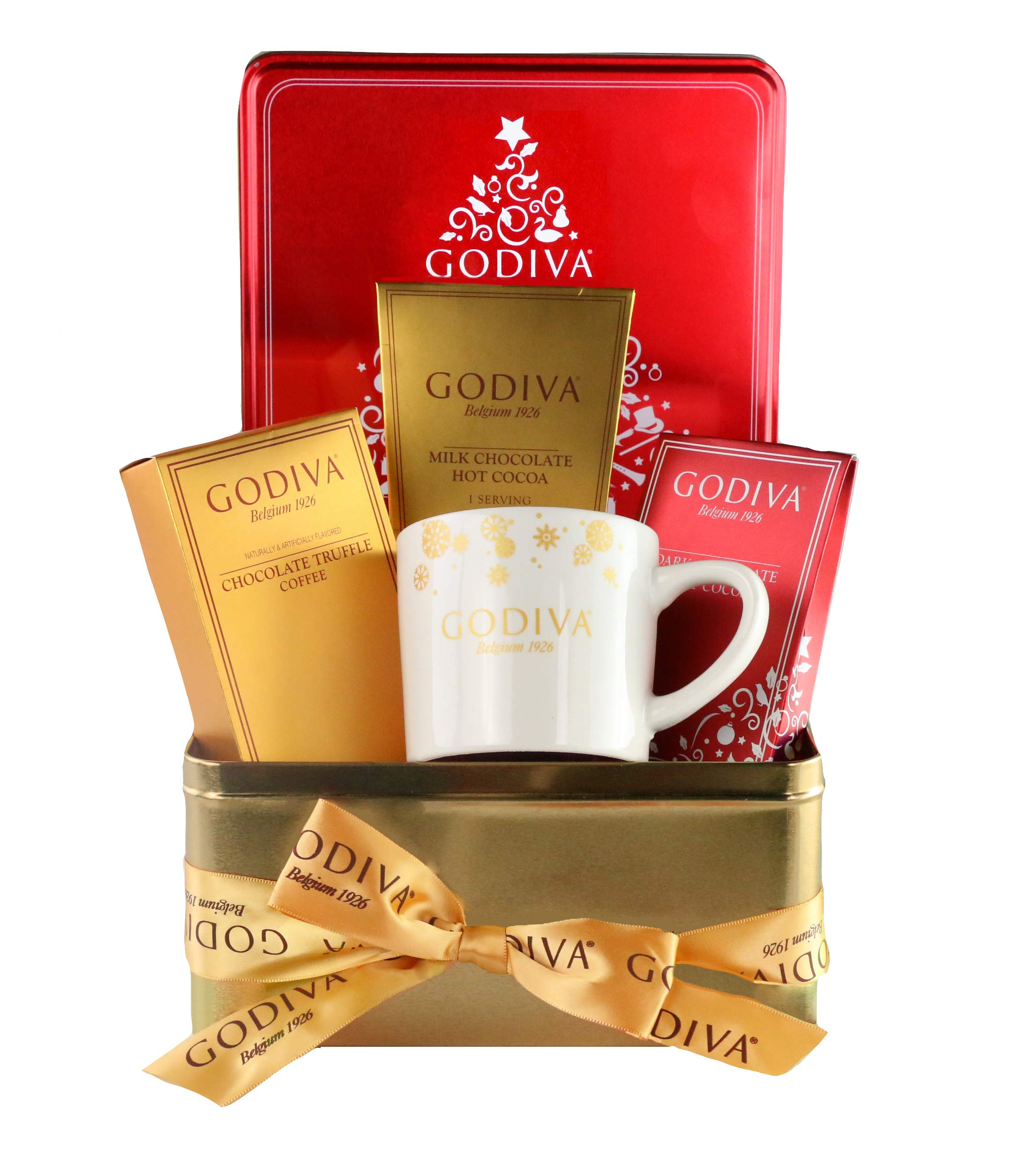 CDM product Thoughtfully Gifts, Godiva Hot Chocolate and Coffee Set, Includes Mug, 2 Flavor Packets of Cocoa and 1 Packet of Truffle Coffee big image