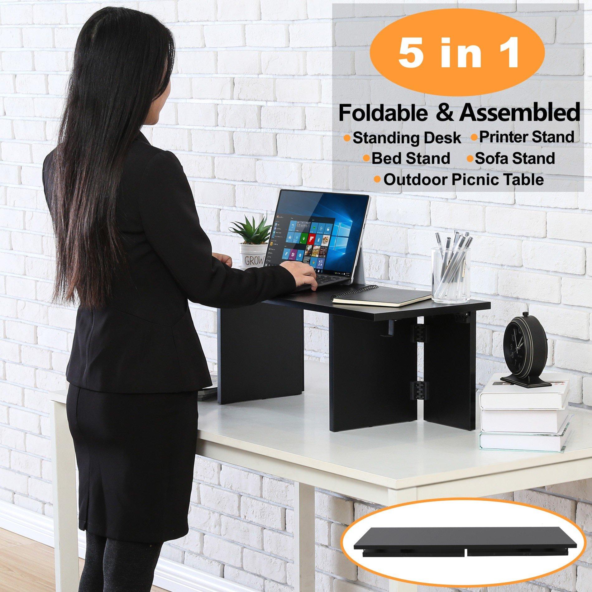 Homury Foldable Wood Speedy Standing Desk Stand Up Desk Sit to Stand Desk Converter Riser Portable Desk for Offices Homes,Black