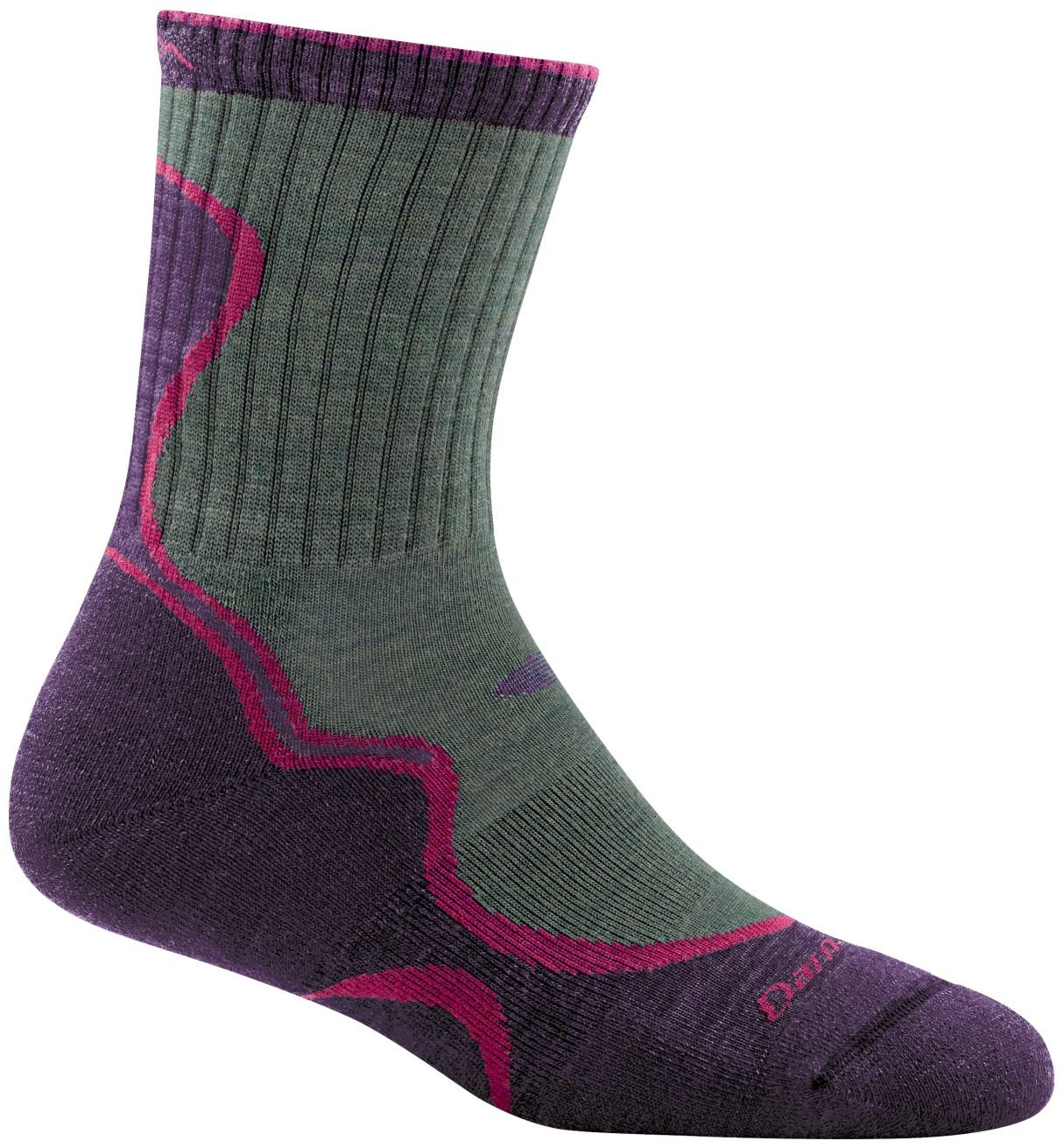 Darn Tough Light Hiker Micro Crew Light Cushion Socks - Women's Moss/Eggplant Large by Darn Tough