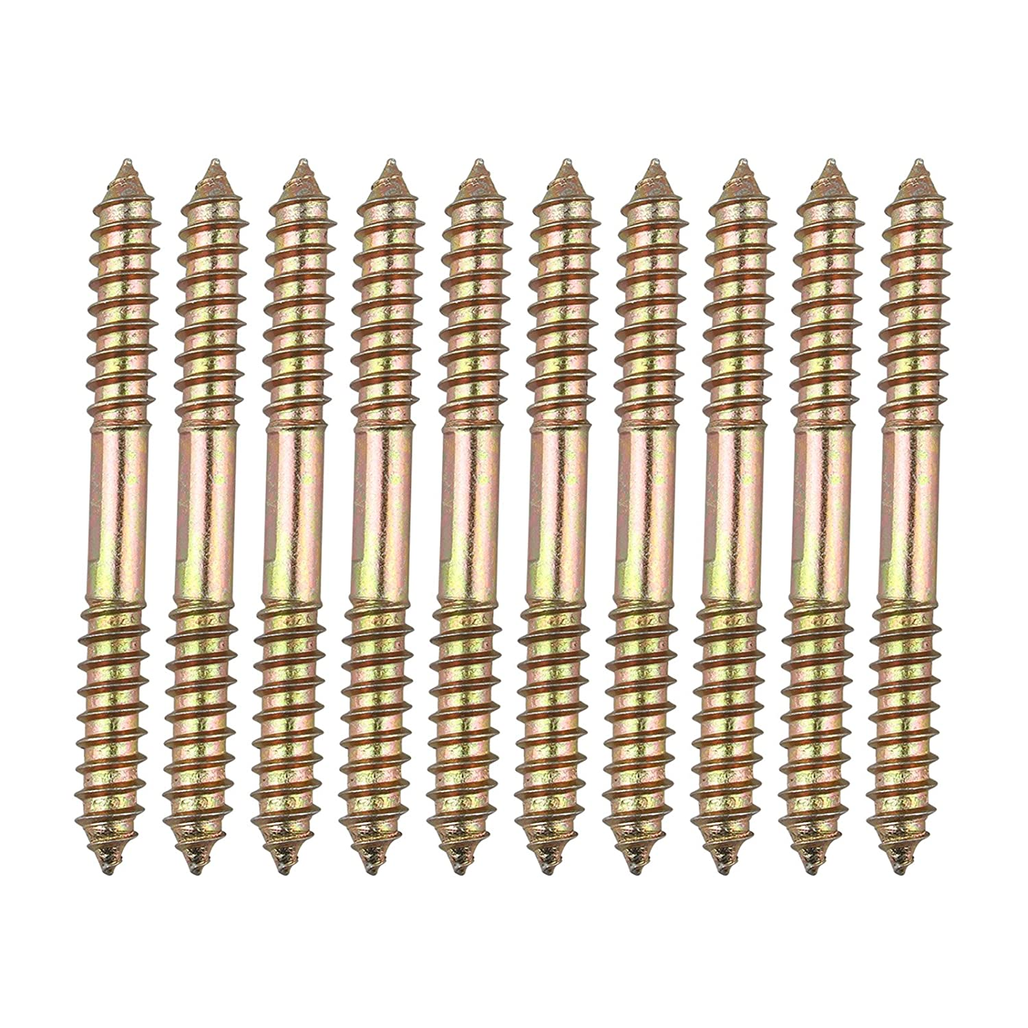 10Pcs M8 x 60mm Double Head Ended Wood to Wood Screws Self-Tapping Thread Bolts for Furniture Fixing Dowel