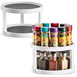 2 Pack Non Skid Lazy Susan Turntable Cabinet Organizer - 2 Tier 360 Degree Rotating Spice Rack - 10 Inch Spinning Carasoul Pa
