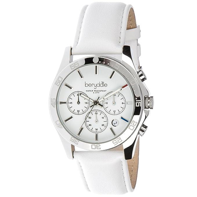 Berydale BD700-1 - Reloj para mujeres, correa de cuero color blanco, cuadrante