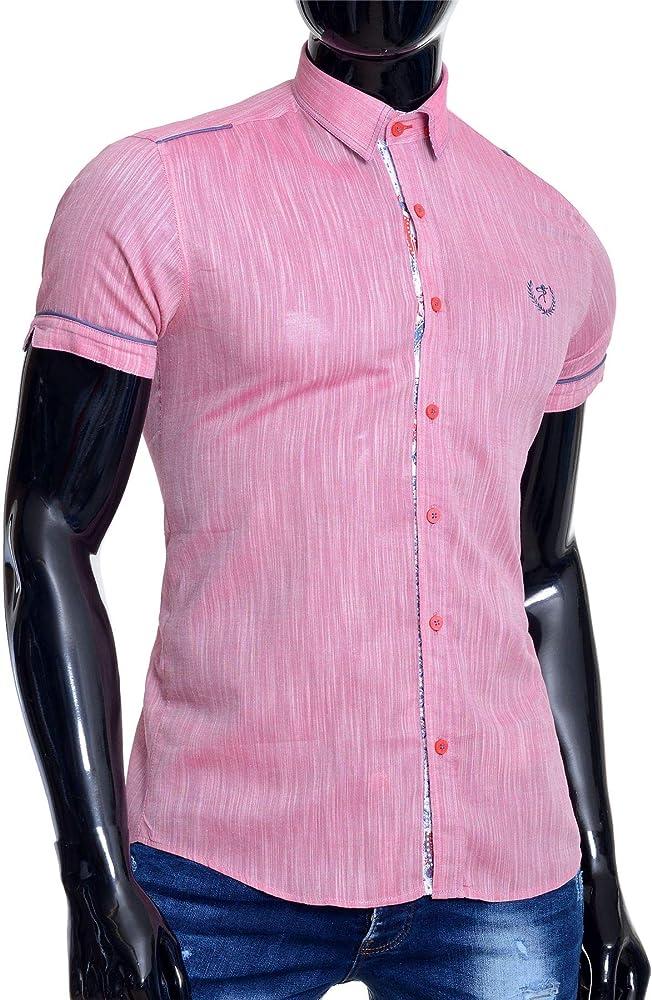 Mondo Camisa de Manga Corta de Lino para Hombre Algodón Collar de Punto Acabado Paisley Rosado Slim Fit M: Amazon.es: Ropa y accesorios