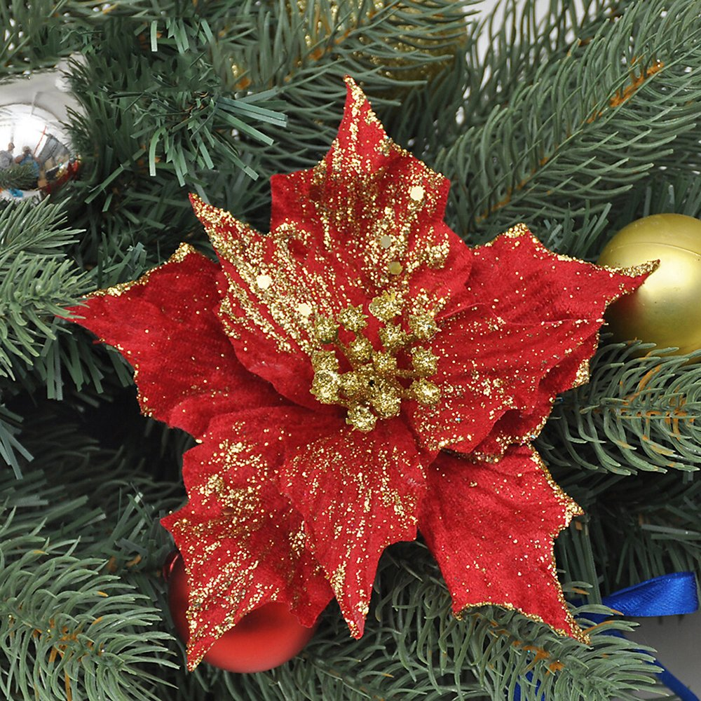 Moonvvin Artificial Wedding Christmas Flowers Christmas Tree Wreaths Ornaments Dia 5.11 Inch Red, 1pc Artificial Glitter Poinsettia Flowers