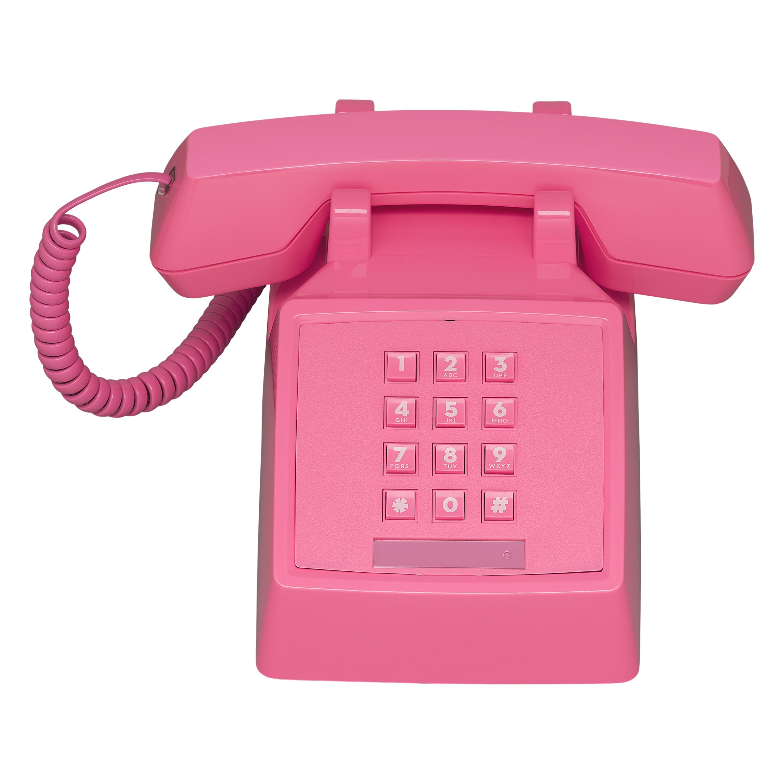 Wild Wood 2500 Classic Retro 1980s Style Corded Landline Phone with Push Buttons, Flamingo Pink by Wild Wood