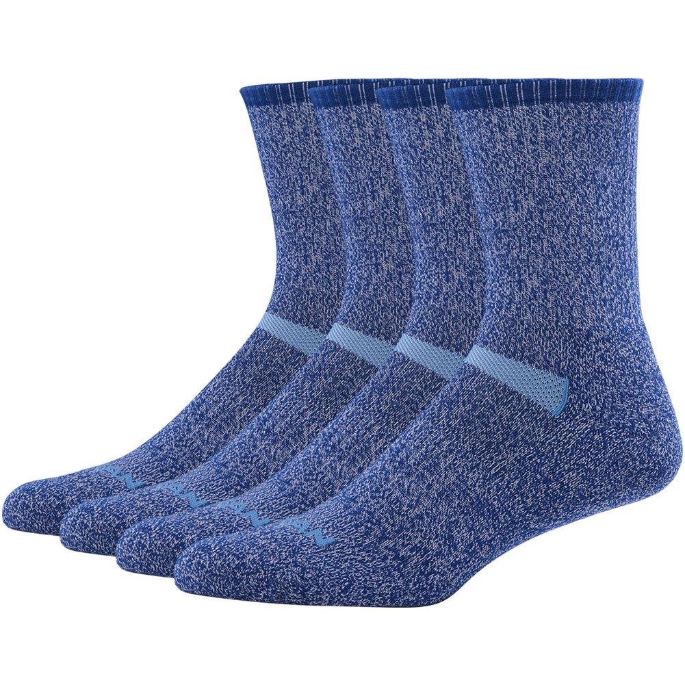 MK MEIKAN Hiking Outdoor Socks Wool, Thermal Thick Padded Outdoor Athletic Climbing/Trekking/Skiing Crew Socks for Men, Grandson 4 Pairs, Navy Blue by MK MEIKAN