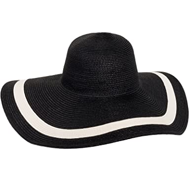 MG Solid Peak Ladies Large Wide Brim Toyo Sun Hat (Black) at Amazon ... 30b9b8fce4c