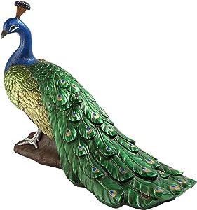 Design Toscano Regal Peacock Garden Bird Statue, Large, 34 Inch, Polyresin, Full Color