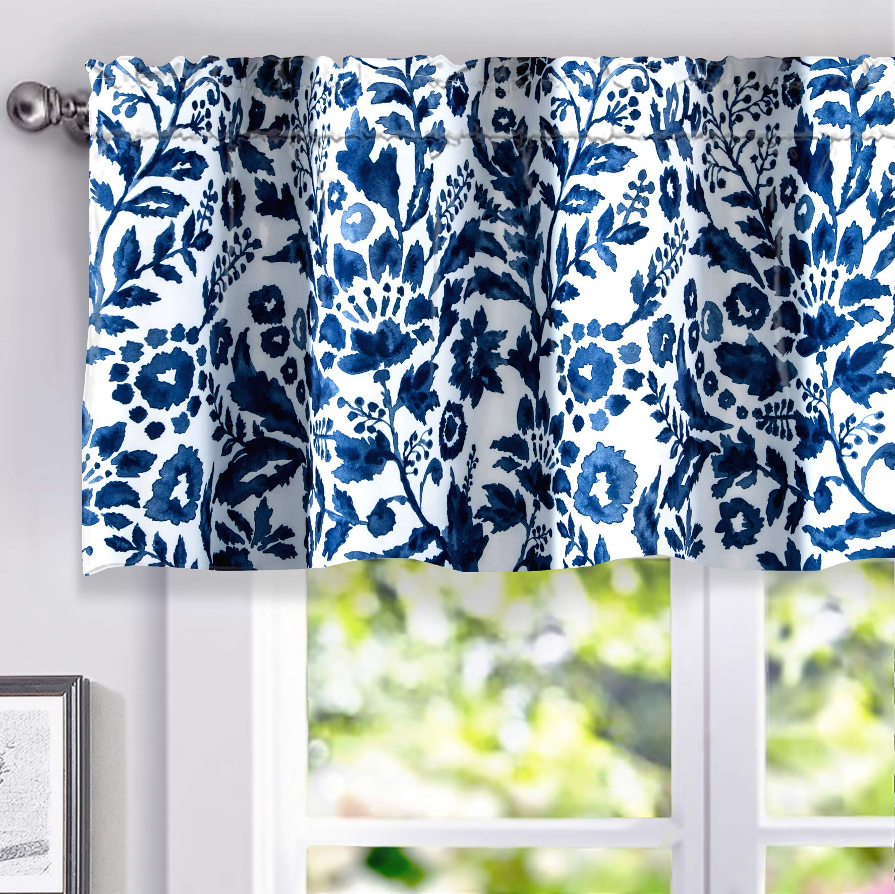 DriftAway Julia Watercolor Blooming Flower Floral Lined Thermal Insulated Energy Saving Window Curtain Valance for Living Room Bedroom 2 Layers Rod Pocket 52 Inch by 18 Inch Plus 2 Inch Header Navy by DriftAway