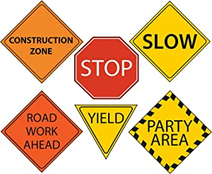 """Construction Party 6"""" Sign Cutouts, Construction Party Decorations, Traffic Signs"""