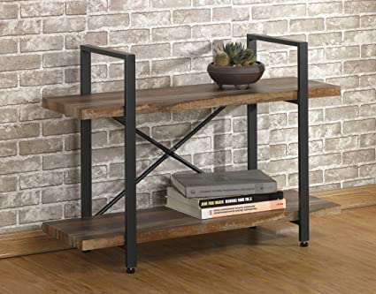 OK Furniture 2 Tier Rustic Wood Metal Bookshelves Industrial Style Bookcases