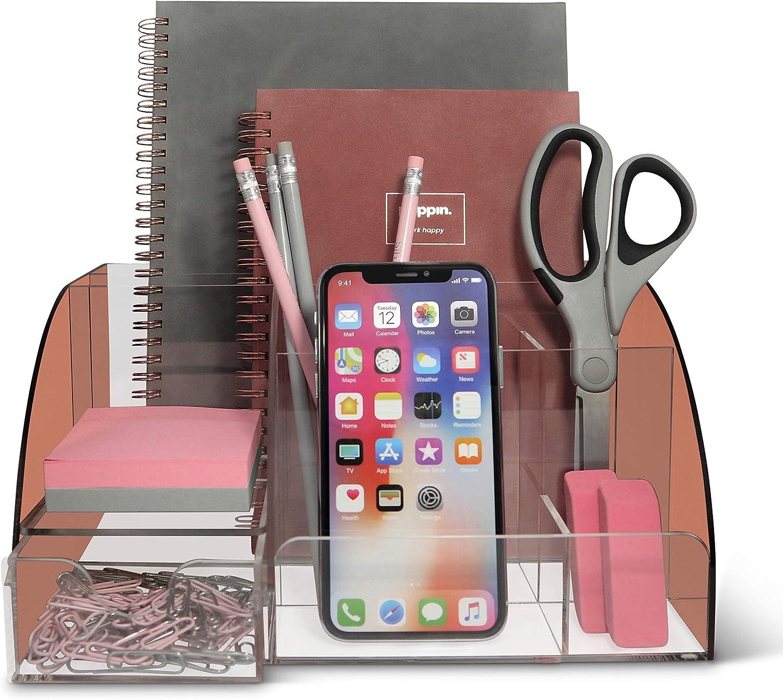Details about  /organizador escritorio todo uno con portalápices para útiles oficina Rose Gold