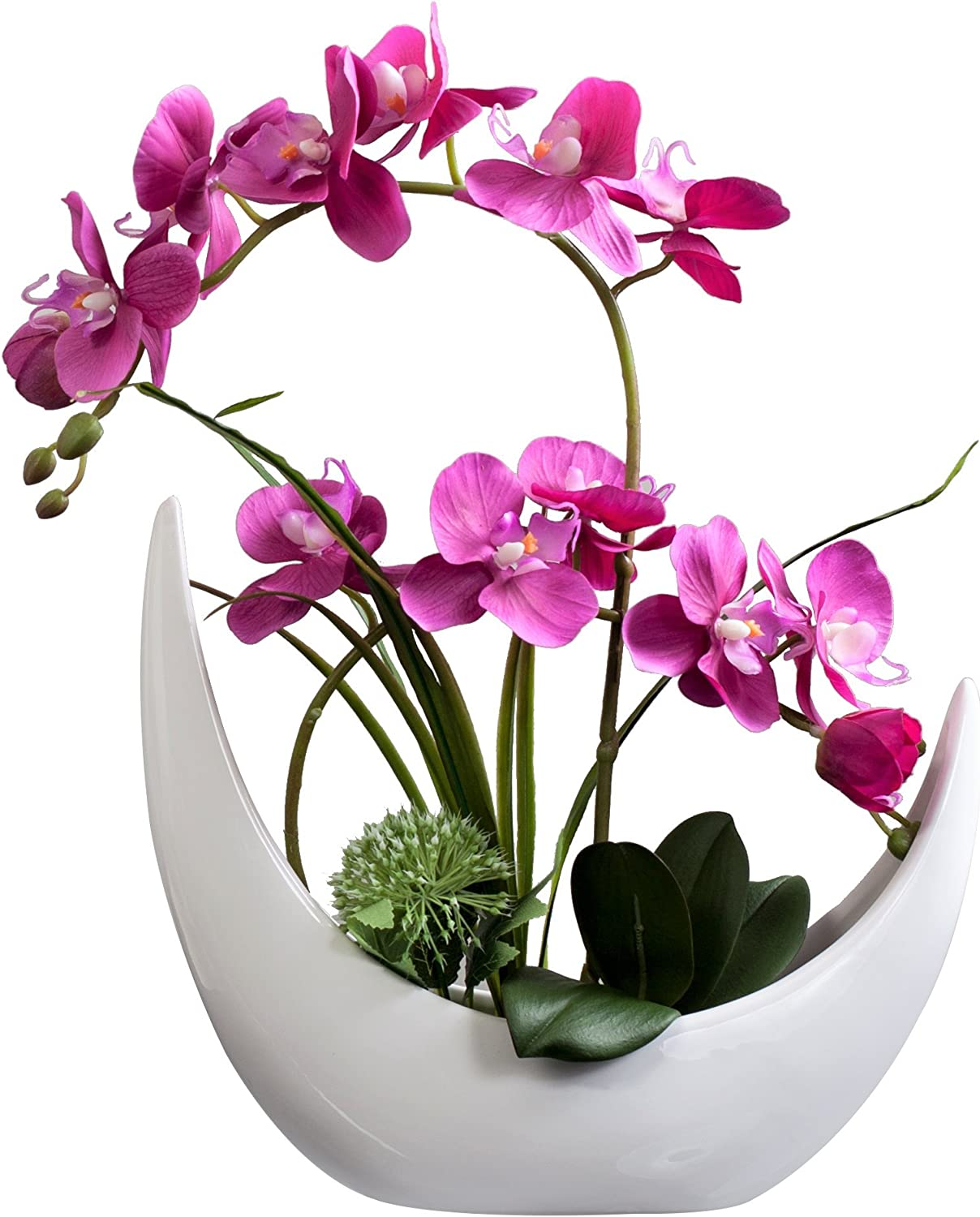 White Phalaenopsis Orchid Wedding Centerpieces in the Crescent Vase