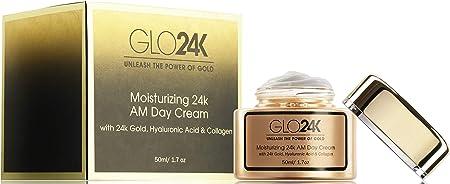 GLO24K Crema de día hidratante con 24k, antienvejecimiento con vitaminas, ácido hialurónico, colágeno