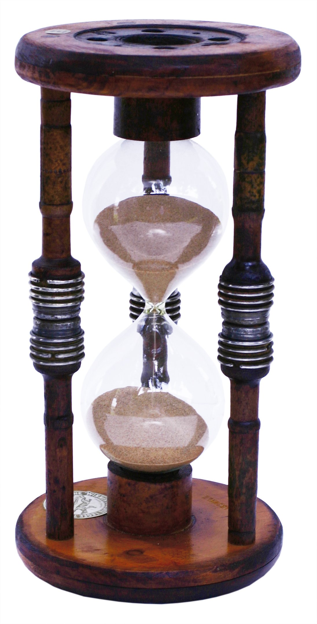 River City Clocks 60 Minute Antique Wood Hourglass Sand Timer, 12-Inch Tall
