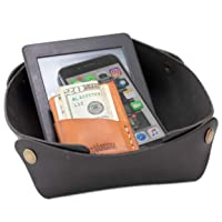 Alta Andina Large Leather Travel Valet Tray | Vegetable Tanned Leather Catchall | Collapsable, Unfolds Flat | Nightstand & Dresser Organizer for Women & Men (Black – Noche)