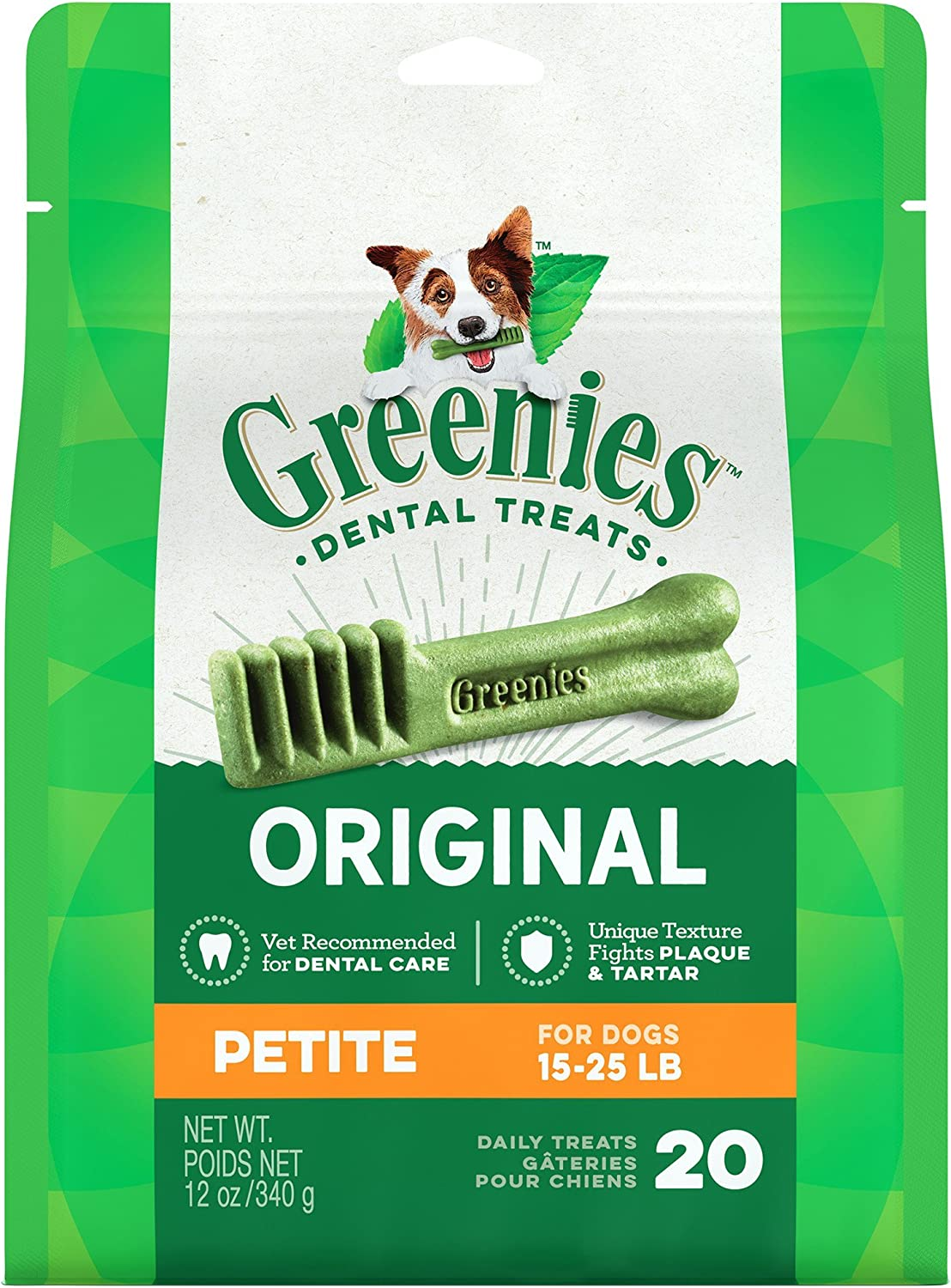 Amazon Com Greenies Dental Chews For Dogs Petite For Dogs 15 25 Lbs 20 Chews Health Personal Care