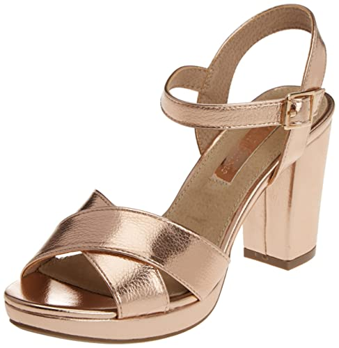 XTI 030546, Sandalias de Tacón Mujer, Dorado (Nude), 39 EU: Amazon.es: Zapatos y complementos