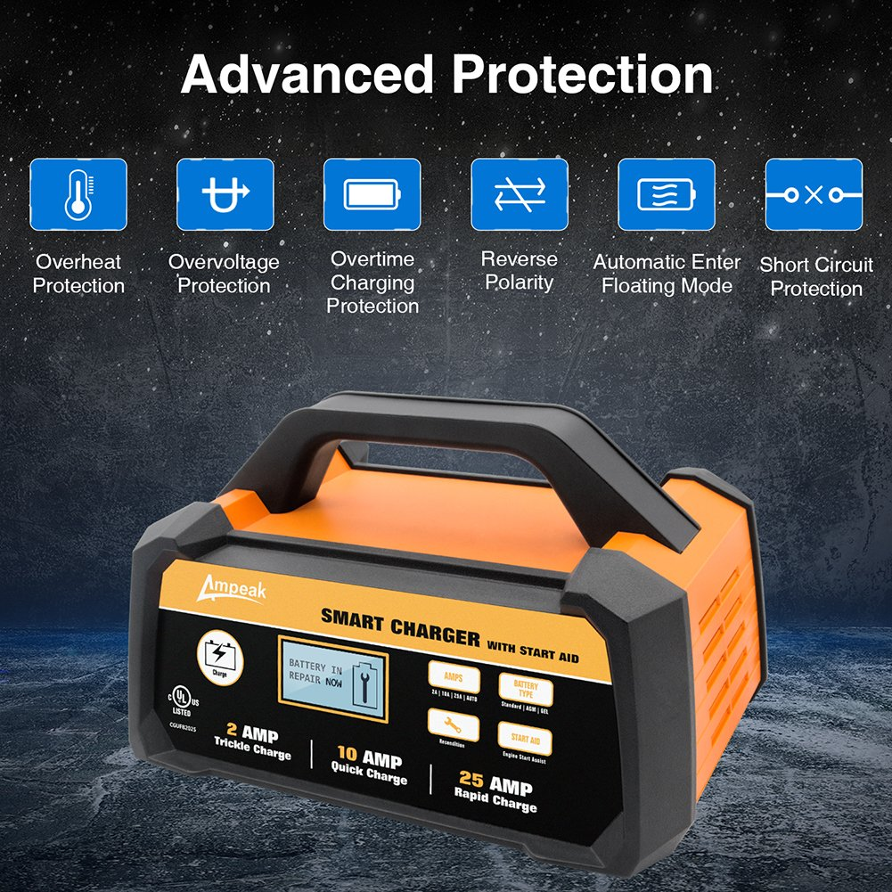Ampeak 2 10 25a Smart Battery Charger Maintainer 12v Desulphation Progress Monitor Fully Automatic With Start Aid Automotive