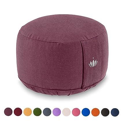 Lotuscrafts Cojin Meditacion Yoga Lotus - Altura 20 cm - Relleno de Espelta - Cubierta en Algodon Lavable- Zafu Meditación - Cojin Suelo Redondo - ...