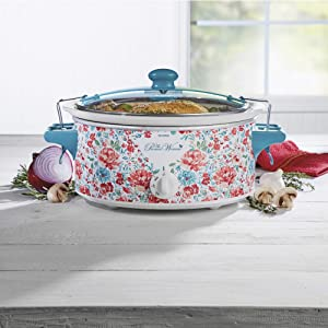 6-Quart Portable Slow Cooker with Full-Grip Handles, Gorgeous Garden
