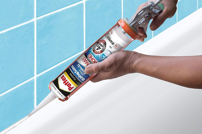 Pattex Baño Sano No Más Moho, silicona antimoho e impermeable, silicona blanca duradera para cocina y baño, resistente silicona sanitaria, 1 cartucho x 280 ml: Amazon.es: Bricolaje y herramientas