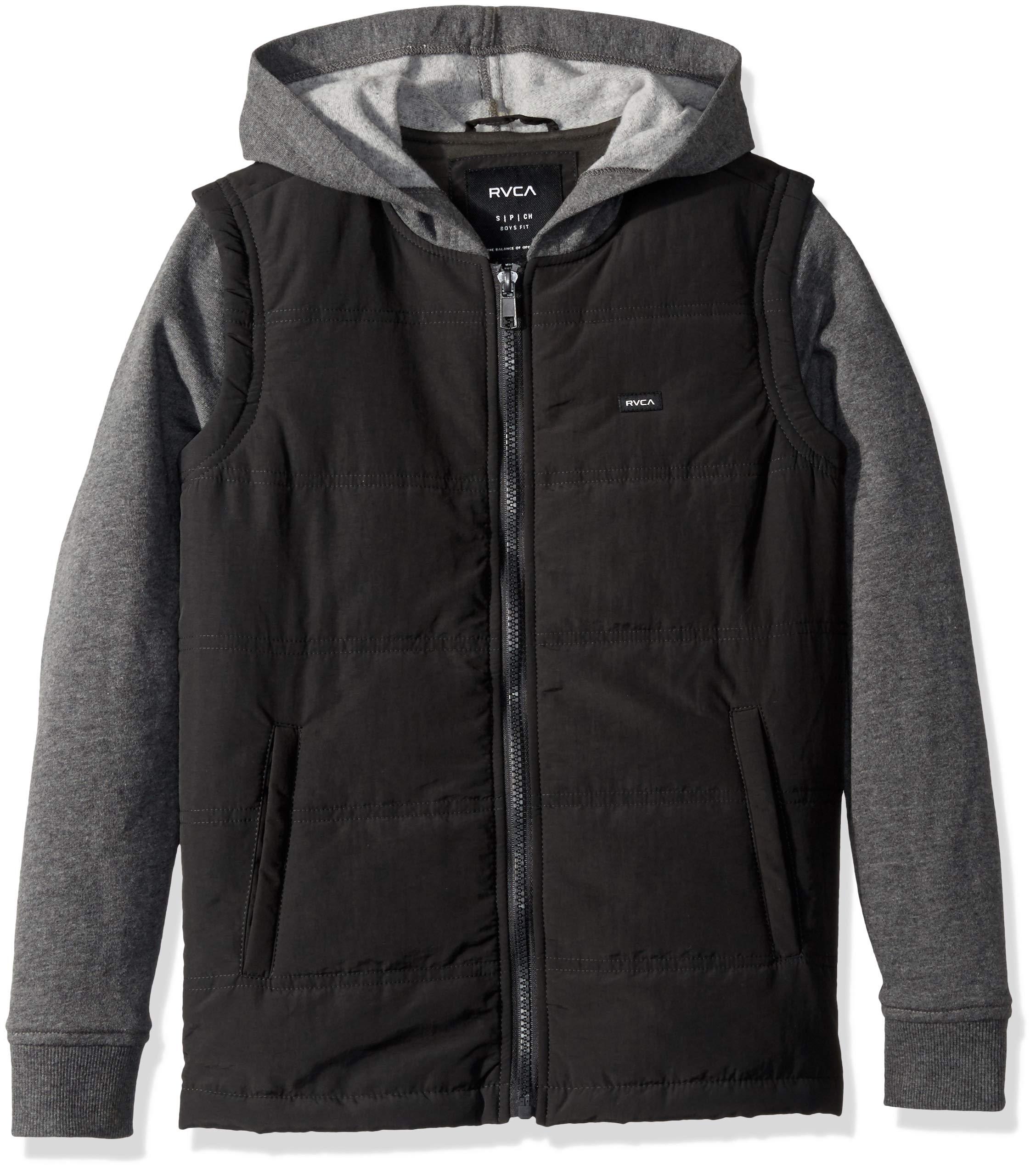 RVCA Boys' Big Logan Puffer Hooded Jacket, Smokey
