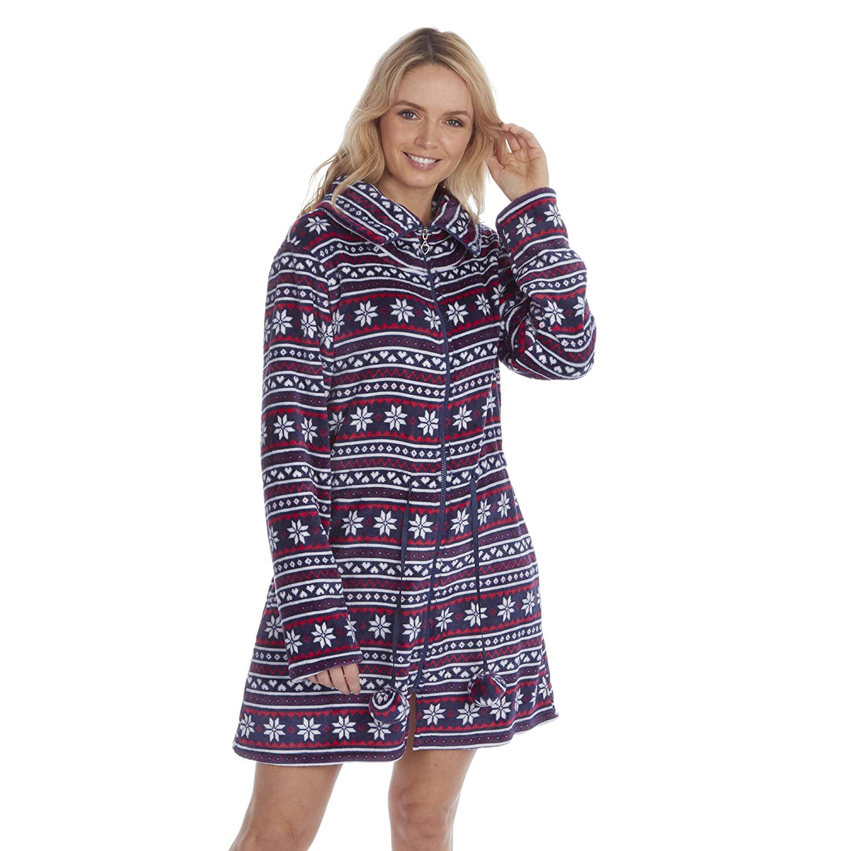 Camicia da notte da donna corta in flanella motivo Fair Isle dotata di cerniera -
