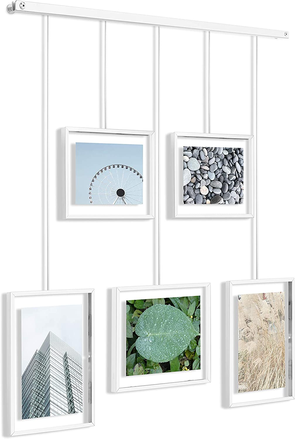 Umbra Exhibit Picture Frame Gallery Set Adjustable Collage Display for 5 Photos, Prints, Artwork & More (Holds Two 4 x 6 inch and Three 5 x 7 inch Images), White