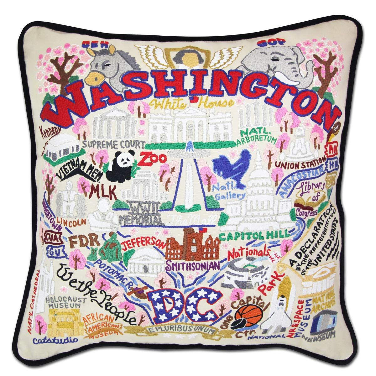 Catstudio Washington D.C. Hand-Embroidered Throw Pillow | Celebrates The Sites, History Landmarks The U.S. Capitol