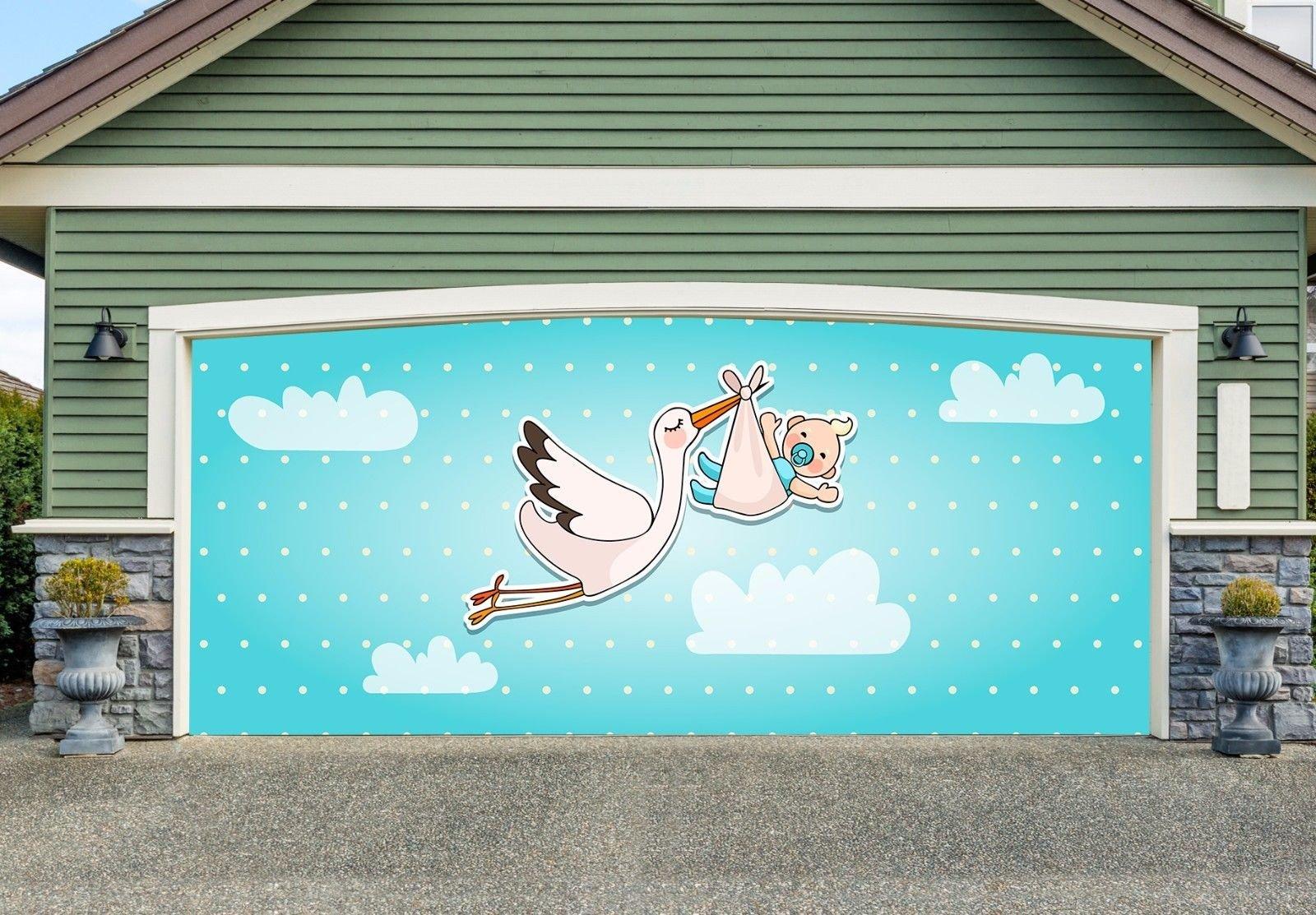 BABY SHOWER ANNOUNCEMENT Double Garage Door Mural Full Color 3D Print Door Cover Billboard Decor for Home Murals size 82x188 Dav152