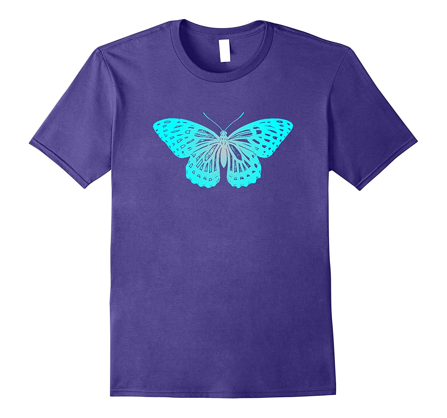 Turquoise Butterfly T-Shirt For Nature Lovers Novelty-Vaci