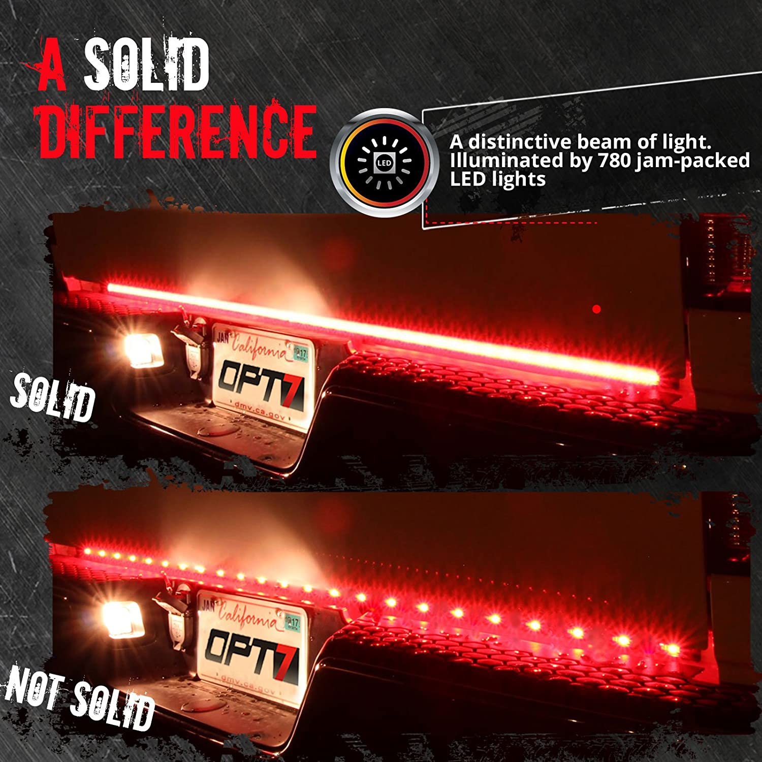 Opt7 48 Redline Triple Led Tailgate Light Bar W Star Wiring Diagram Sequential Amber Turn Signal 788 Solid Beam Weatherproof No Drill Install Full