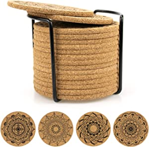 "Tebery 16 Pack Round 3.9"" Absorbent Cork Coasters with Metal Holder for Drinks in Office, Home, or Cottage -1/5"" Thick"