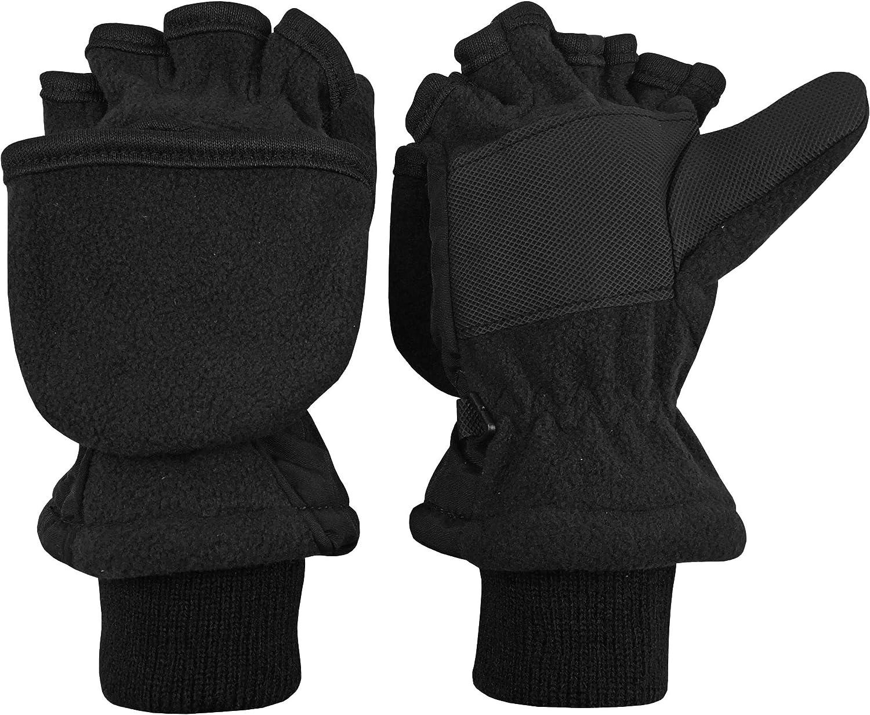 Solid Color Kids Winter Soft Plush Half Finger Fingerless Warm Gloves