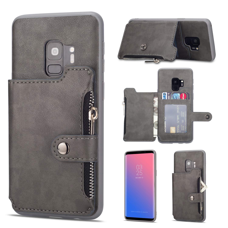 Rouge Coque Galaxy S9 SONWO Simple R/étro PU Cuir Flip Portefeuille de Protection Etui avec Rangements de Cartes et Fonction Stand pour Samsung Galaxy S9