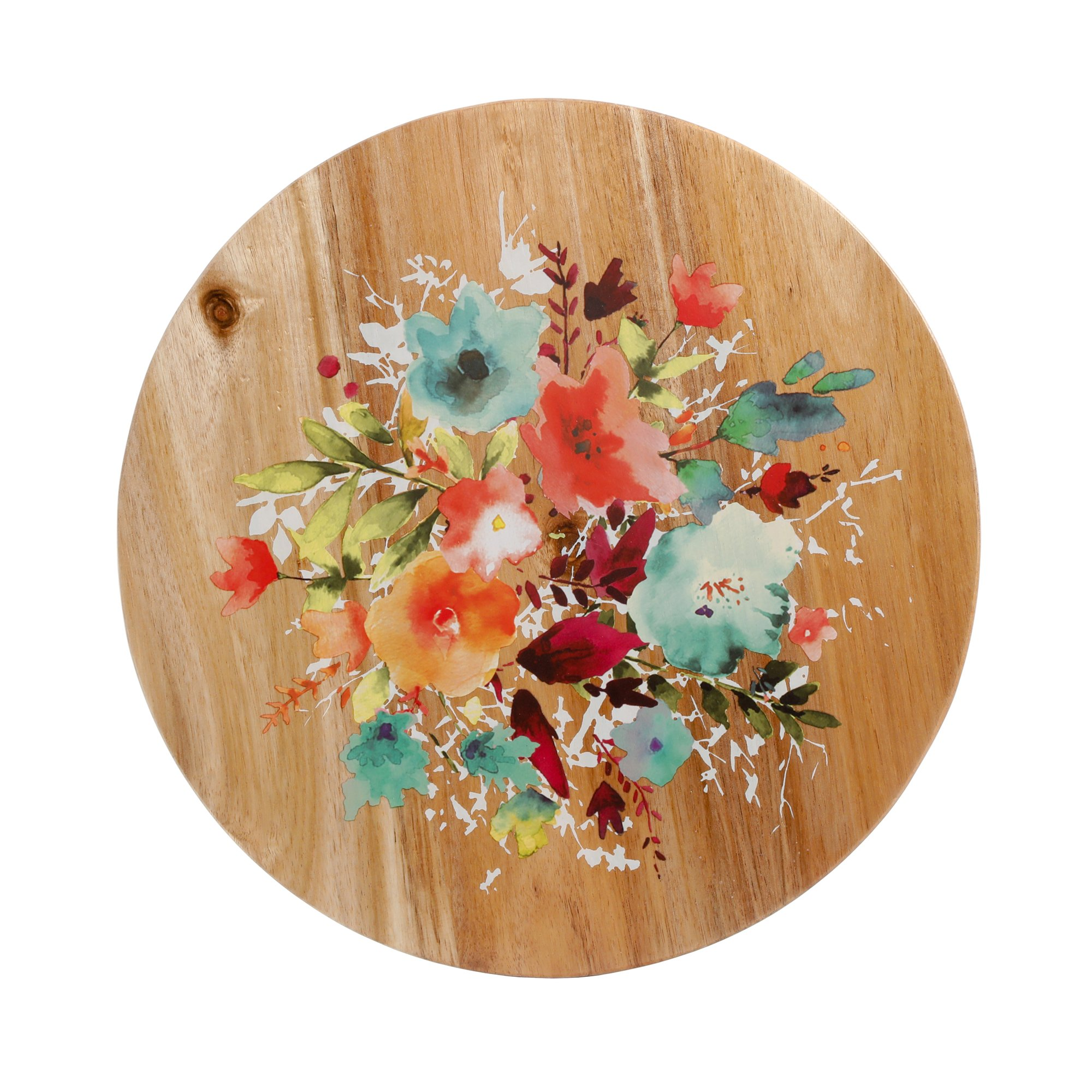 The Pioneer Woman Lazy Susan 12 Willow Pattern Wood Decor (1)