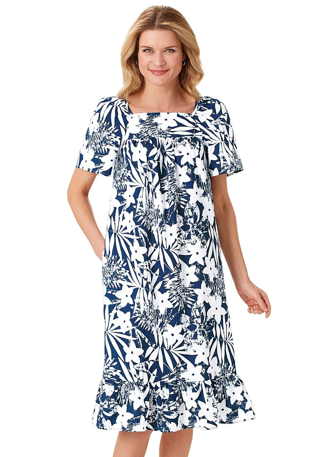 Carol Wright Gifts Tropical Monotone Dress, Navy, Size Extra Large (2X)