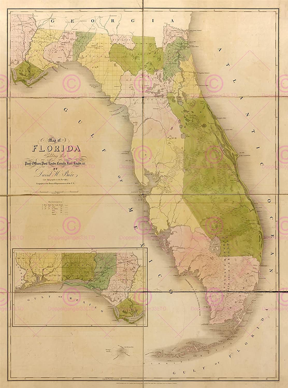 Amazon.com: MAP AMERICAN ATLAS BURR 1839 FLORIDA GULF COAST INSET ...